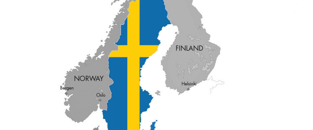 Nordisk kart med utheving av Sverige i farger