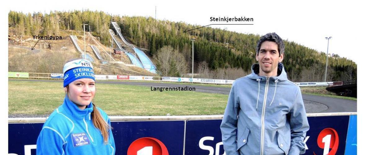 Hopptalent Pernille Kværnmo og tidligere VM- og Verdenscupvinner Anders Bardal fremfor Yrken hoppanlegg.