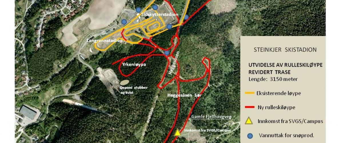 Oversiktsbilde over rulleskiløyper ved Steinkjer Skianlegg.