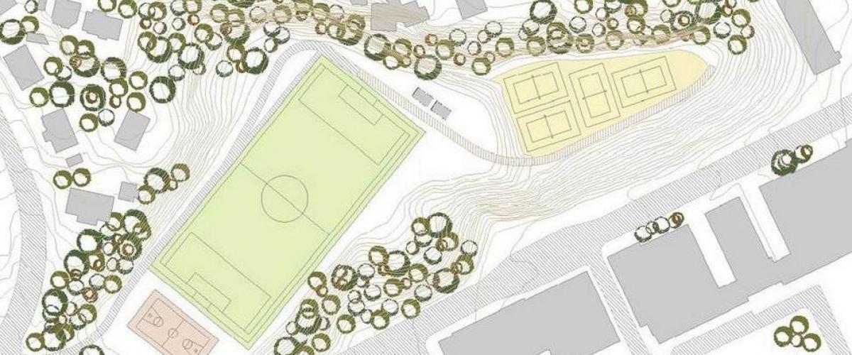 Tegning av kunstgressbane med terreng rundt