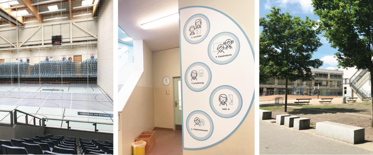 Tre bilder. Innside av idrettshall, merking på vegg for fremkommelighet og utendørsområde