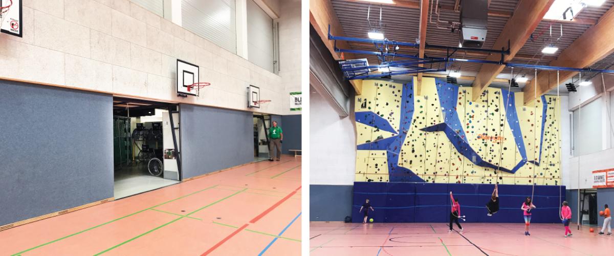 To bilder. Innside av idrettshall med lagerrom og klatrevegg.