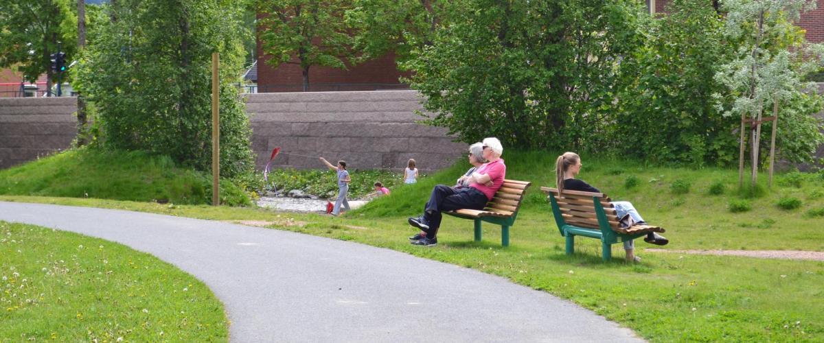 Benker i parken med personer som hviler seg.