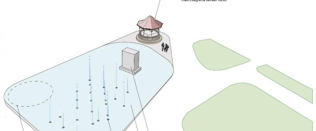 Isbane med vann vanndyser, mini-paviljong med integrert kjøleanlegg