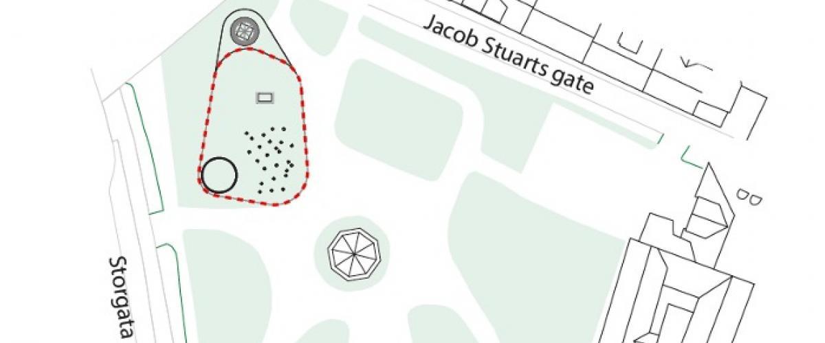Skisse av parken som viser til isbane, grøntarealer samt amfi