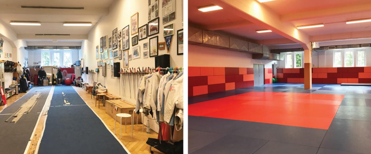 To bilder, ett rom tilrettelagt for fekting med treningsbane, det andre kampsport generelt med matter.