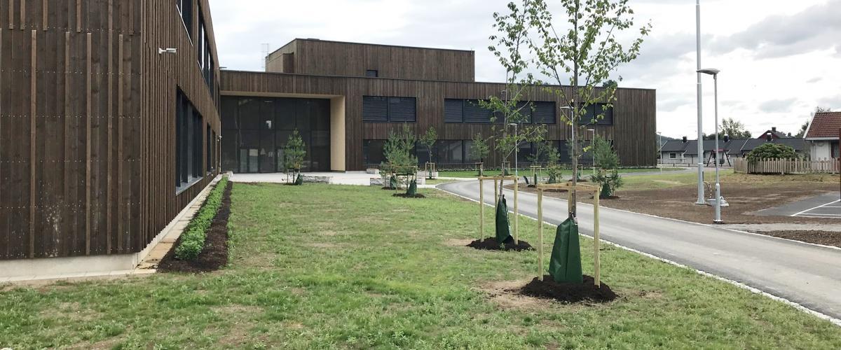 Glommasvingen skole fasade og trær
