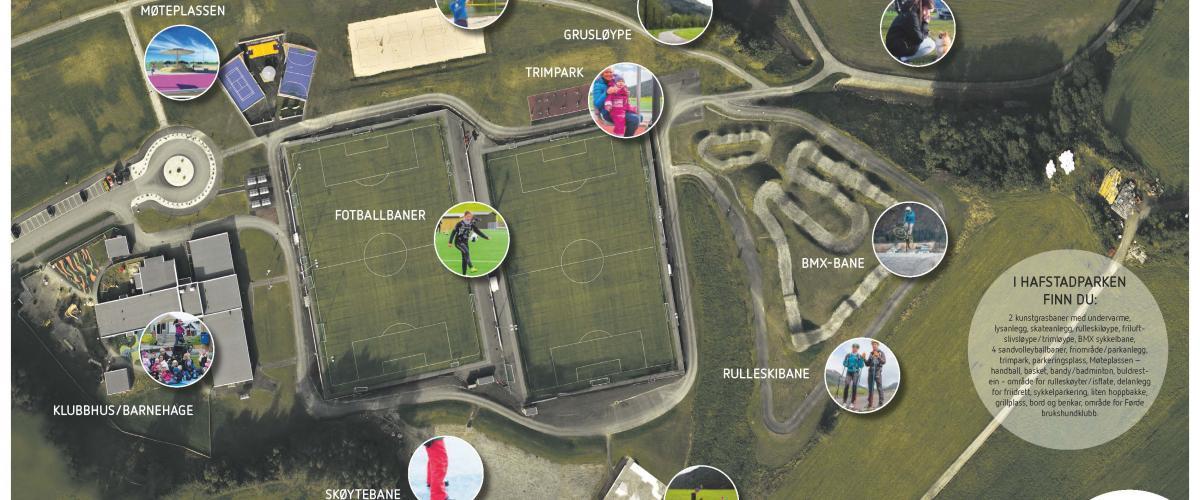 Oversiktsbilde Hafstadparken i Førde