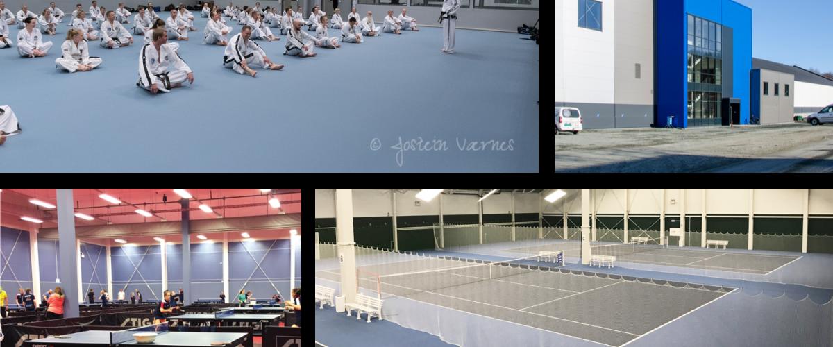 Oppe til venstre: Utøvere hører på instruksjon. Oppe til høyre: Lade sportsarena utifra. Nede til venstre: Bordtennisbord. Nede til høyre: Tennisbaner