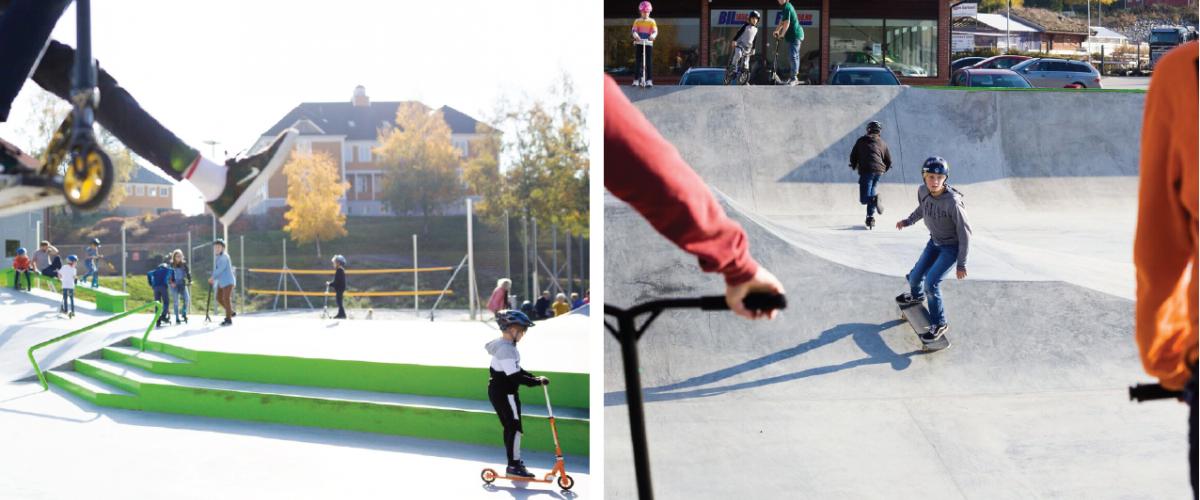 Ungdom på rulleanlegg med både sparkesykkel og skatebrett