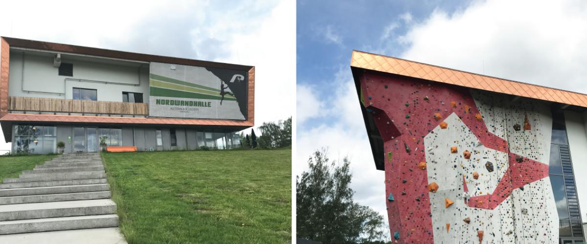 To bilder. Fasade av klatreanlegg og nærbilde av utvendig klatrevegg.