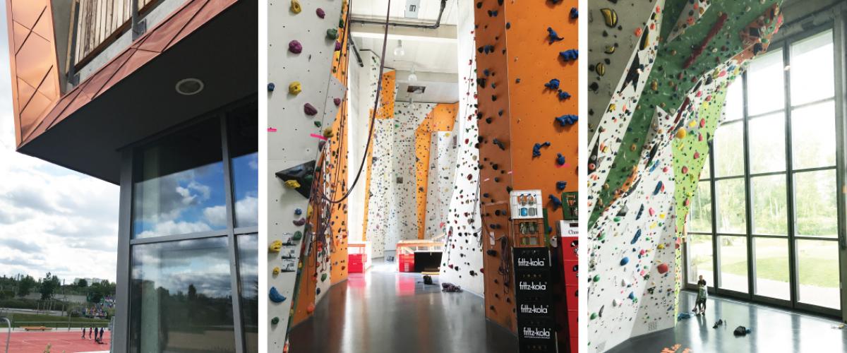 Tre bilder. Utside av klatrehall, samt innside med klatrevegger.