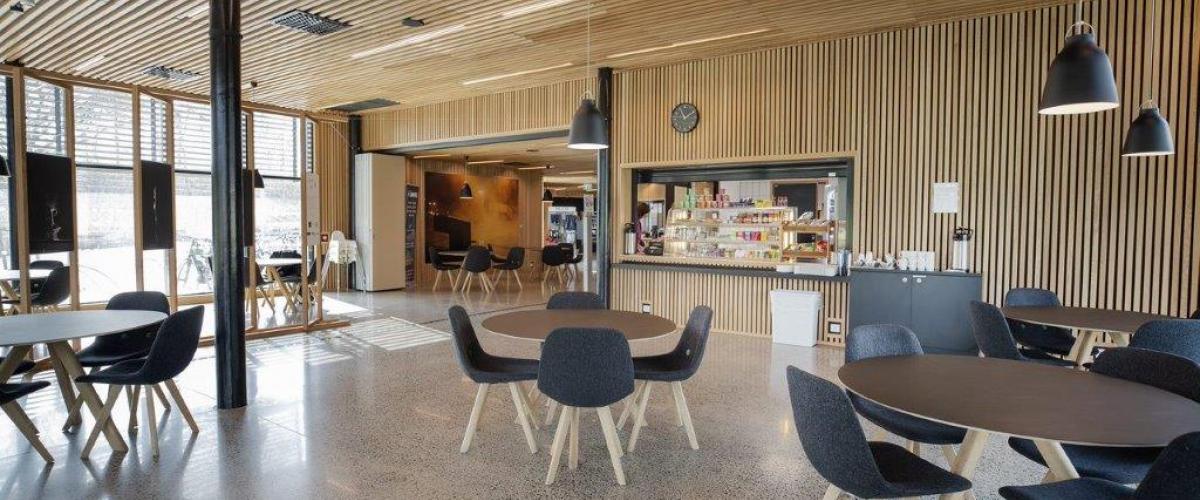 Kafé med bord og stoler i luftig område