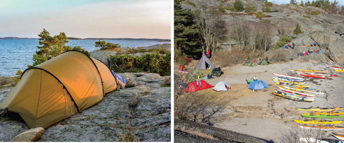 Til venstre: Telt ved stranden. Til høyre: Samling av kajakker i strandkanten