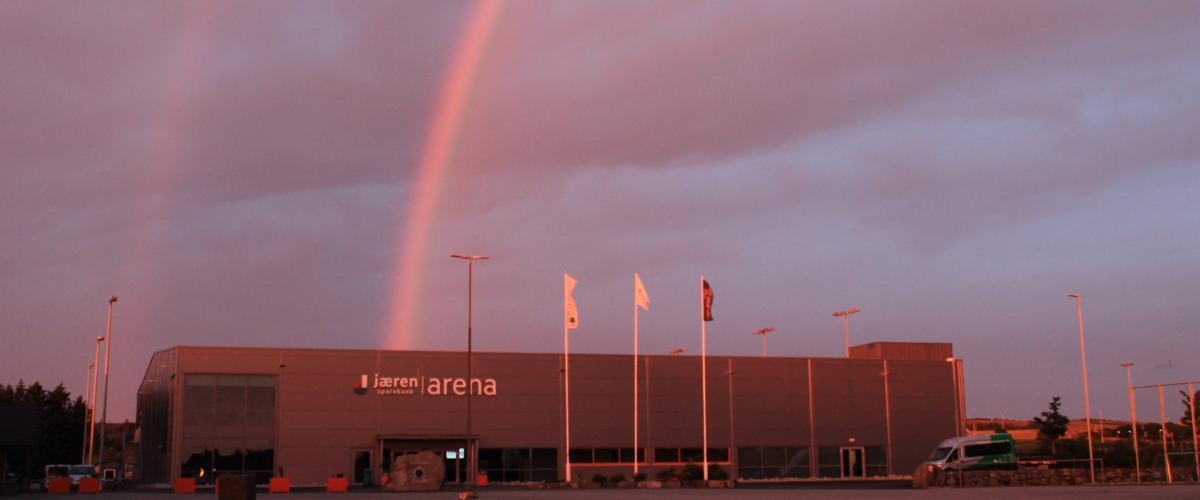 Regnbue over Jæren Sparebank Arena