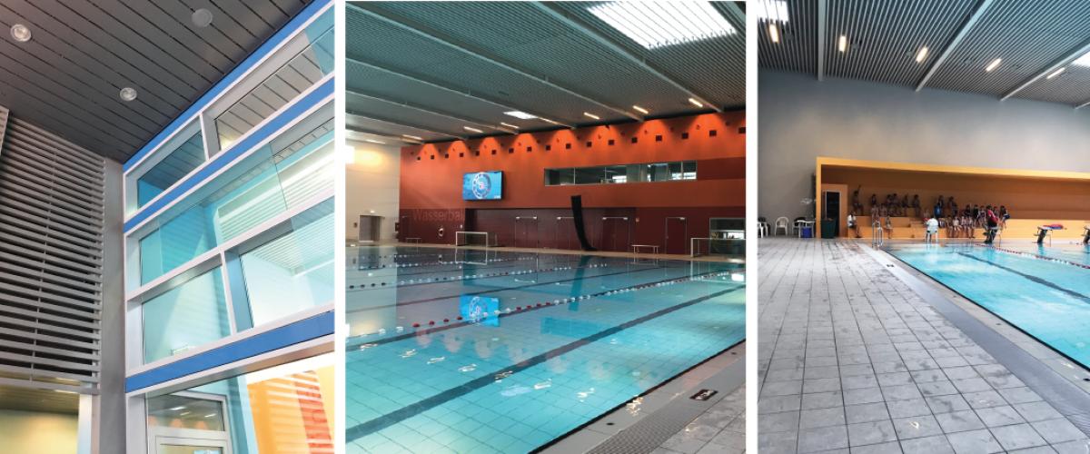 Tre bilder. Innside av svømmehall, med basseng.