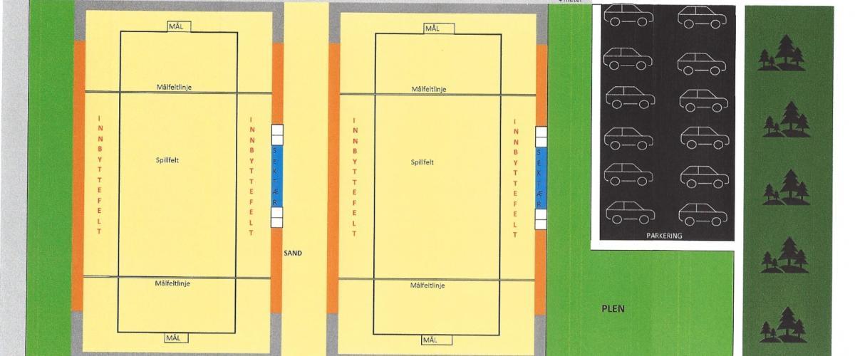 To beachhåndballbaner og en parkeringsplass