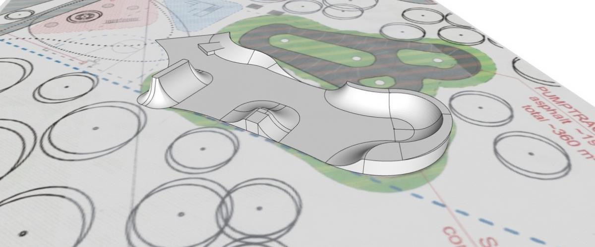 Skisse betongparken i Hvalstad aktivitetspark