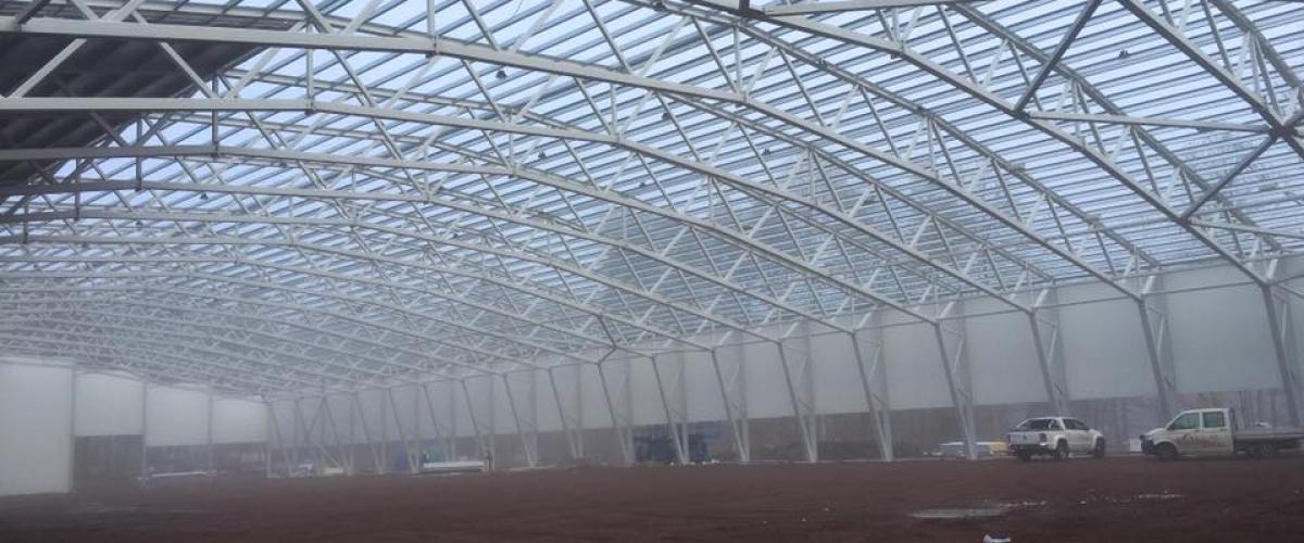 Takkonstruksjon Vestfoldhallen under bygging