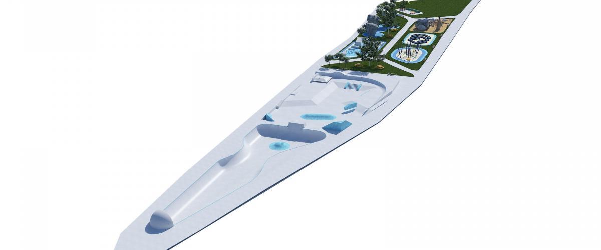 3D-skisse over aktivitetsanleggene langs Strandpromenaden i Kongsvinger.