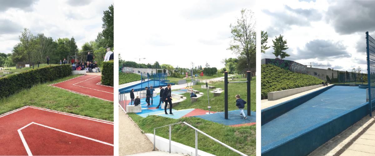 Tre bilder av aktivitetspark, med baner og apparater