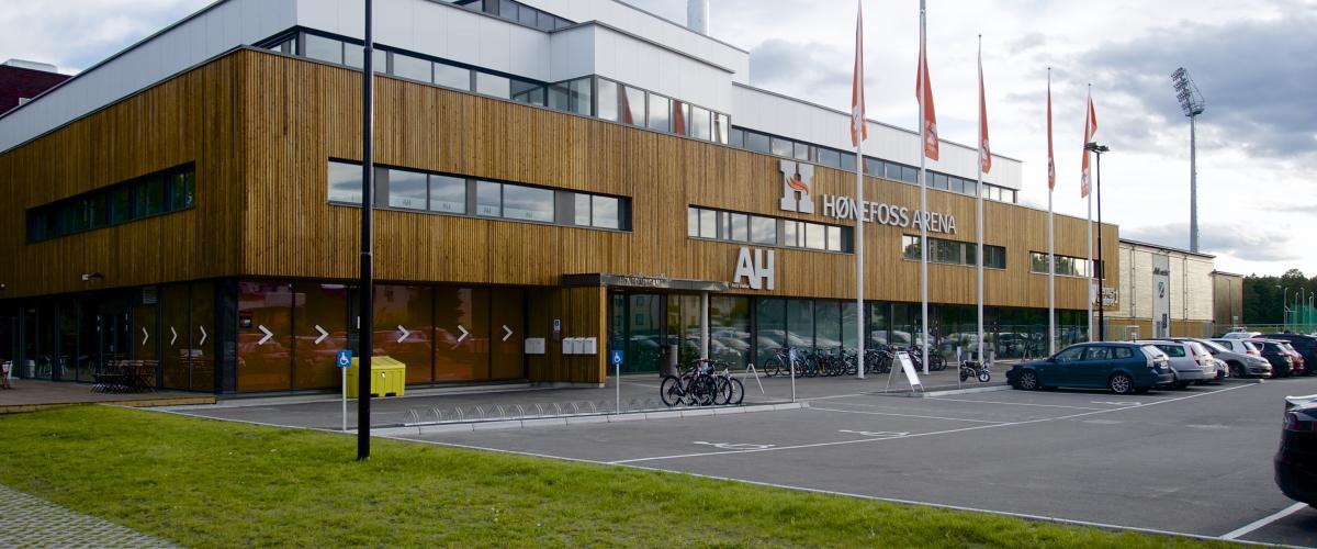 Hønefoss Arena sett utenfra