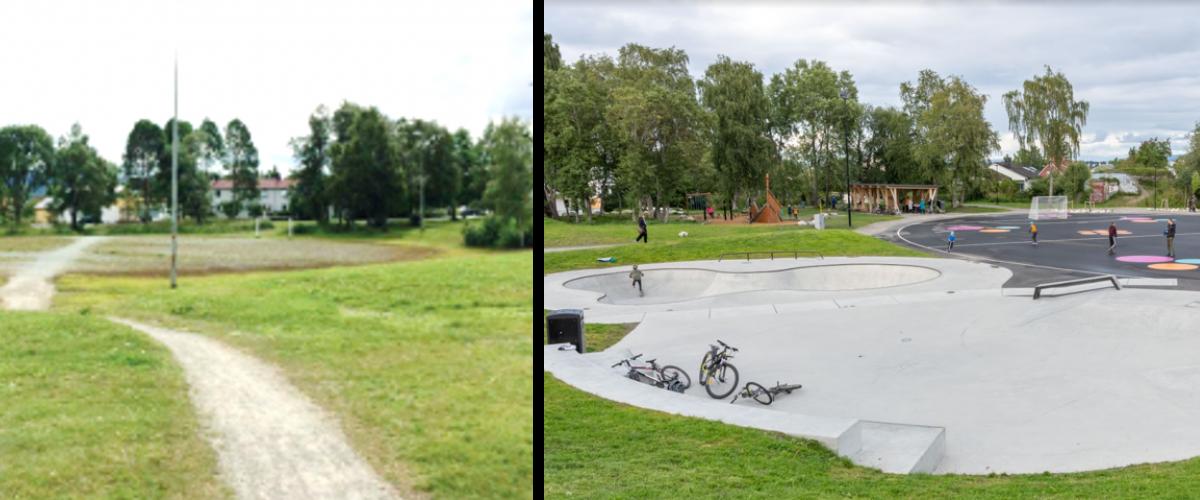 Til venstre: Et åpent område med gressflater og en sti. Et barn ser på parken. Til høyre: Skjermvegen aktivitetspark med mange barn.
