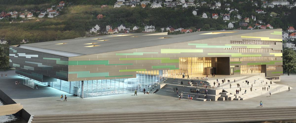 Illustrasjonsbilde av svømmehall som ligger ved vannet, utside
