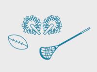 Illustrasjonsbilde av Amerikanske idretter, med cheerleading, amerikansk fotball og