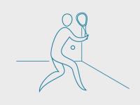 Illustrasjon av squashspiller